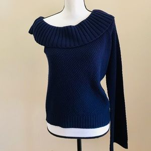 NWT Crown & Ivy Blue Cowl Neck One Sleeve Sweater